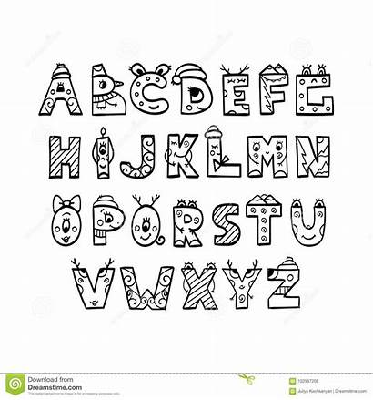 Alphabet Coloring Christmas Illustration Letters Vector