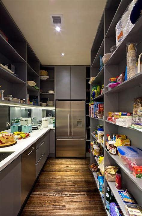 White Cabinets Dark Countertop Backsplash by Walk In Pantry Design Ideas