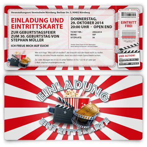einladungskarten zum geburtstag als kino ticket