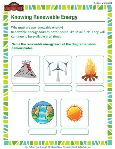 knowing renewable energy 3rd grade printable science