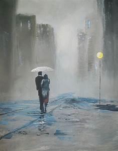 Romantic Walk In The Rain Raymond Doward Paintings