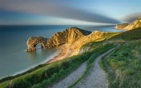 nature landscape england uk hill sky clouds durdle
