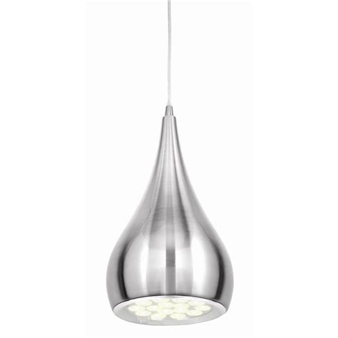 brilliant brushed chrome clyde led pendant light