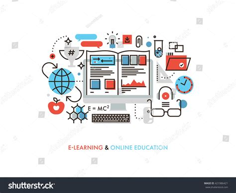 how to learn web designing at home concept thin line flat design tutorial stock vector