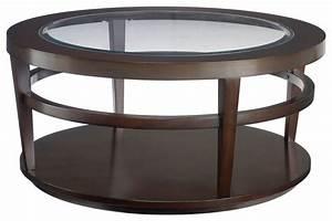 Hammary urbana glass top round cocktail table traditional for Traditional glass top coffee table