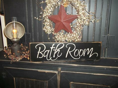Wood Sign Bath Room Country Rustic Wall Hanging Home