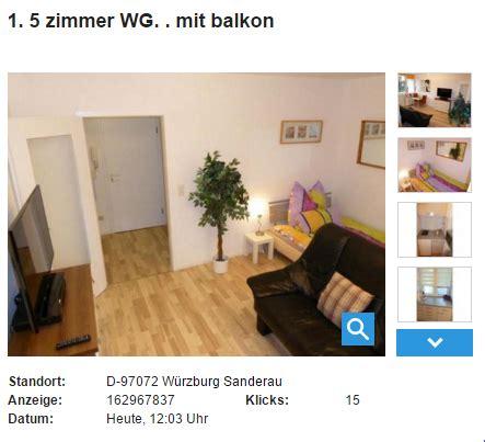 1 Zimmer Wohnung Würzburg Provisionsfrei by Wohnungsbetrug 1 5 Zimmer Wg Mit Balkon