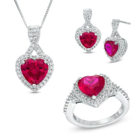 heart shaped lab created ruby  cubic zirconia pendant