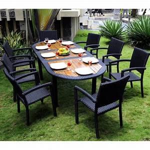 meuble en teck de jardin salon de jardin teck et resine With meubles de jardin en resine tressee