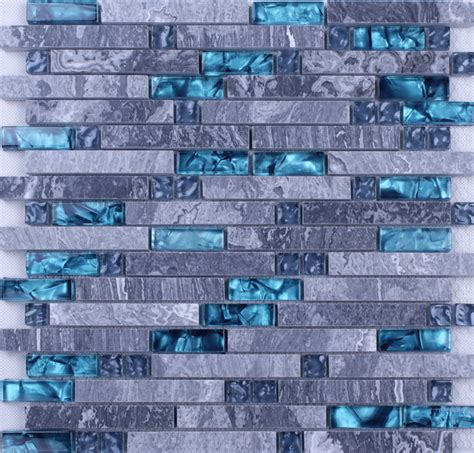 grey marble blue glass mosaic tiles backsplash