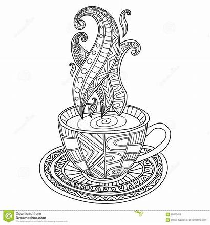Coffee Tea Cup Abstract Coloring Pages Adult