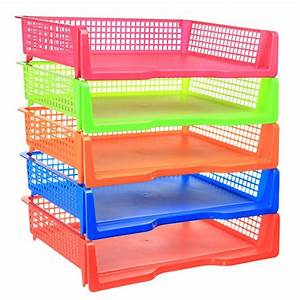 5 tier plastic desk letter organizer tray stacking side With colorful letter trays