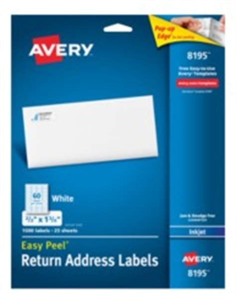 avery 8195 template avery easy peel return address labels for inkjet printers