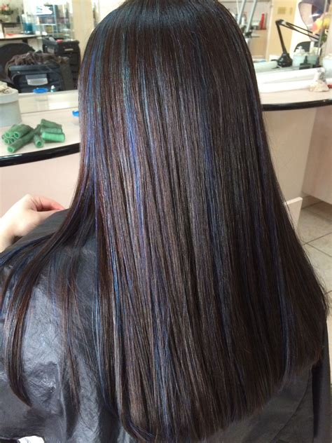 Navy Blue Lowlights by Brown Hair With Blue Highlights Hair Ideas