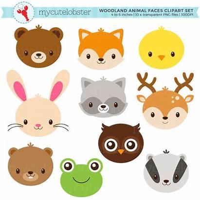 Animal Faces Woodland Animals Clipart Deer Rabbit