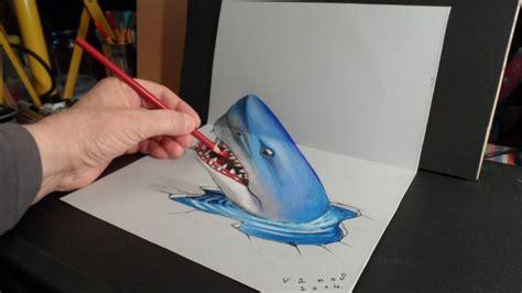 trick art drawing  shark time lapse youtube
