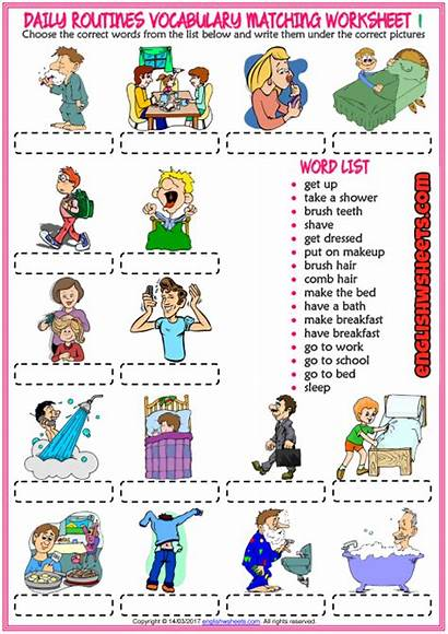 Daily Routines Routine Worksheets Worksheet Exercise Vocabulary