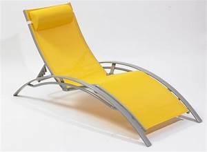 Chaise Longue Aluminium : chaise longue mulit positions aluminium jaune ~ Teatrodelosmanantiales.com Idées de Décoration