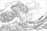 Coloring Hokusai Wave Kanagawa Tsunami Japanese Famous Vague Coloriage Grande Artist Pages Ukiyo Printable Adult Masterpieces Template Woodblock Inspired Very sketch template