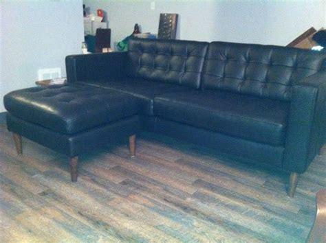 mid century leather karlstad sofa ottoman ikea hackers