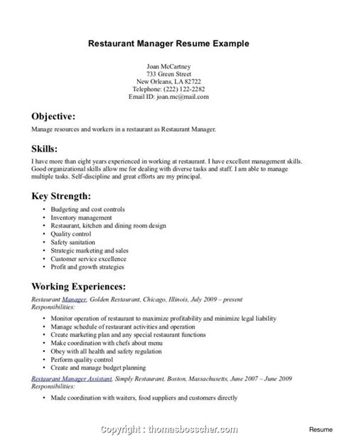 Resume Objective For Restaurant by Newest Cv Format For Restaurant Waiter Resume Skills