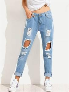 Blue Distressed Boyfriend Jeans -SheIn(Sheinside)