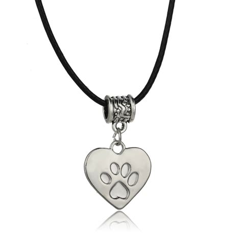 lovely dog paw print heart charm pendant necklace women