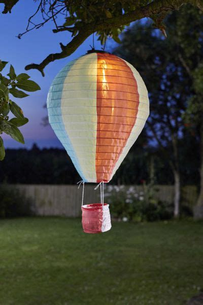 smart garden battery powered decorative hanging hot air balloon light