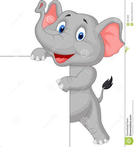 funny elephant cartoon  blank sign royalty  stock