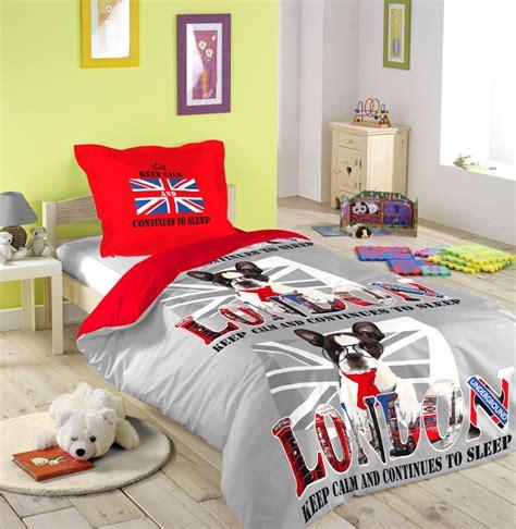 housse de couette 140x200 parure de lit 1 personne melting pot chien londres drapeau