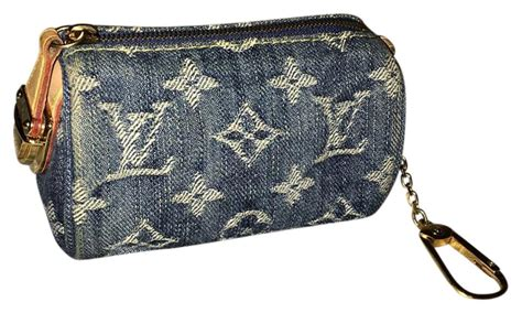 louis vuitton speedy lv monogram coin purse denim key