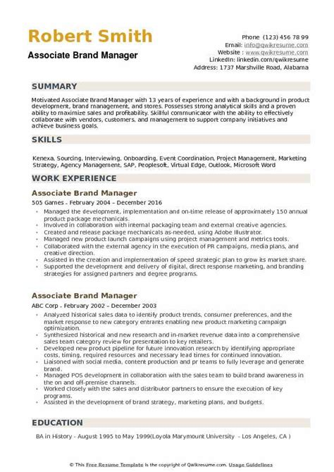 Brand Manager Resume by Associate Brand Manager Resume Sles Qwikresume