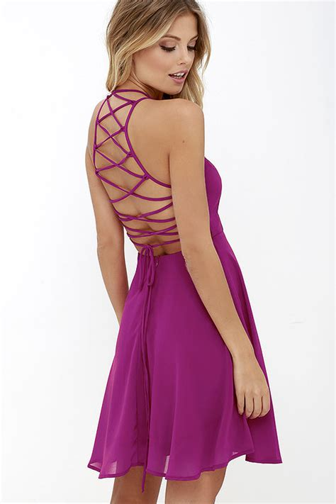 Sexy Magenta Dress - Lace-Up Dress - Backless Dress - $44.00
