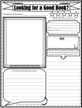 book recommendation sheet review alternative book report