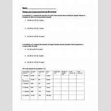 Problems 2  Simple And Compound Interest Worksheet In Problems13 Compare The Amount You Have