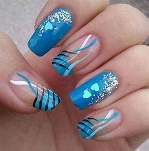 Creative blue nail art designs world inside pictures