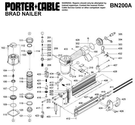 porter cable bna brad nailer parts