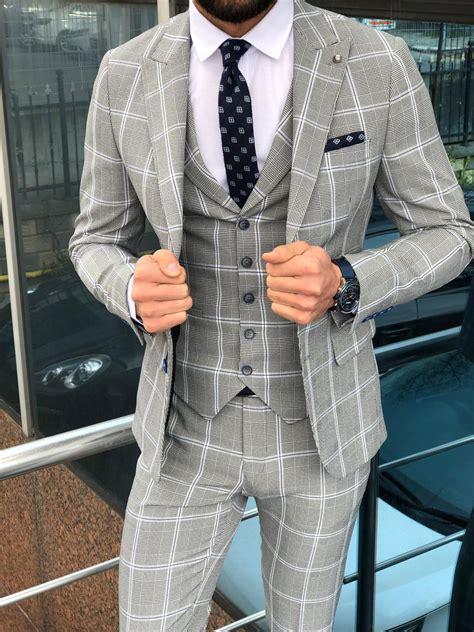 buy gray slim fit plaid suit  gentwithcom