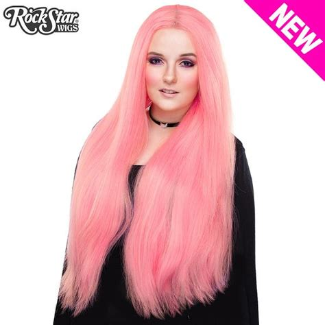 lace front yaki straight  bubble gum pink  rockstar wigs