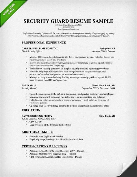 Security Officer Resume Format by Security Guard Resume Sle 2015 My Pictures