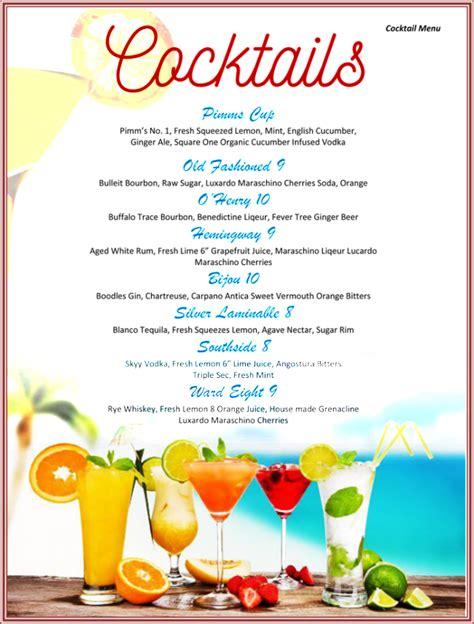 drink menu template   drink menu formats