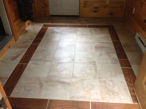 Mud room floor. Wood tile border   For the Home