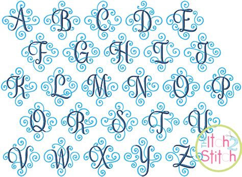 elegant scroll  color monogram  itch  stitch