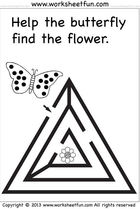 beginner mazes preschool and kindergarten 6 worksheets 986 | mazes wfun 4