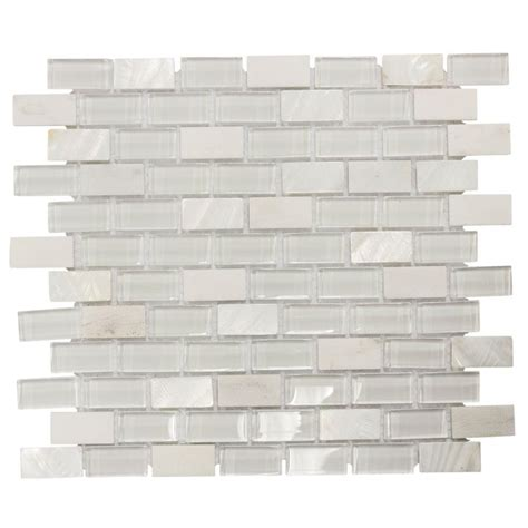 Jeffrey Court Mosaic Tile by Jeffrey Court Polar Cap 12 5 In X 10 75 In X 8 Mm Glass