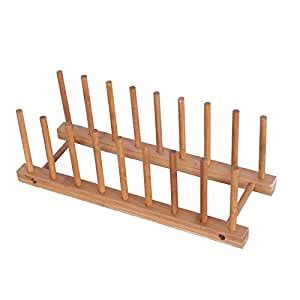 amazoncom dish drying rack bamboo dish rack large pure natural bamboo wooden dishes drainer