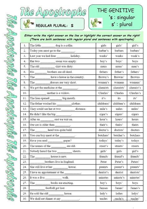 apostrophe worksheet  esl printable worksheets