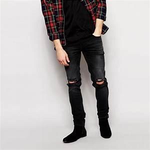 2015 Stretch Denim Dark Wash Ripped Knees Black Skinny Fit Men Torn JeansBranded Mens JeansMen ...