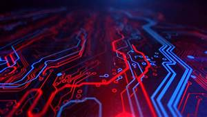 Wallpaper Printed Circuit Board  Electronic Circuit  Blue  Red  Background