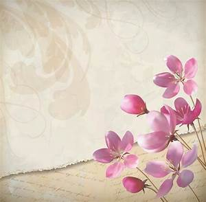 Free Vector Elegant Pink Flowers with Parchment Background ...